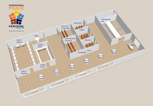 Proposed floor plan for the International Peace Festival